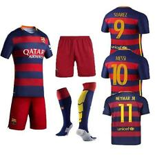 NEW 2016 Football Soccer Kit Short Sleeve Kid boy 5-14Years Red/Blue Shirt+Socks