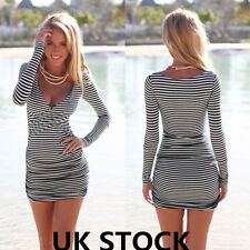 UK WOMENS CELEB SUMMER LADIES SEXY BODYCON BANDAGE STRIPED MINI PARTY DRESS