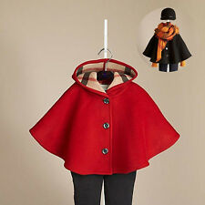 Baby Girls Toddler Autumn Winter Hooded Coat Cloak Outerwear Clothes 2- 7 Years