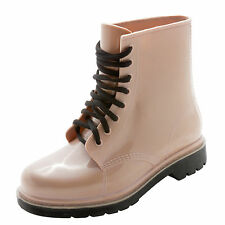 Women Rain Boots Lace Up Low Ankle Flat Rubber Boots Waterproof Boots Short 6-12