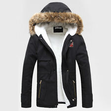 Mens Winter Warm Jacket Coat Military Thick Fur Hooded Outerwear Parka Overcoat