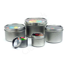 Silver Deep Round Steel Window Tin Cans Craft Tin Containers - Candle Tins