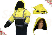 Golden Elephant Hi-Vis Class 3 Insulated Safety Bomber Reflective Jacket Coat