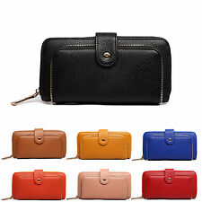 Ladies Synthetic PU Leather Zip Detail Purse Clutch Wallet