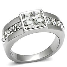 Men's Princess Cut Clear Crystal Silver Stainless Steel Wedding Ring Size 12