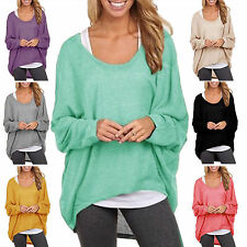 Womens Plus Size Baggy Blosue Knitted Loose Pullover Irregular Tunic Jumper Tops
