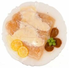 Dollhouse Miniature Filet of Sole Fish w/White Sauce on a Porcelain Plate