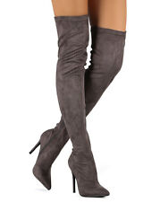 New Women Liliana Gisele-7 Suede Pointy Toe Thigh High Single Sole Stiletto Boot
