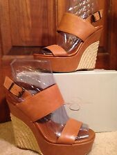 NWT-JESSICA SIMPSON ANIKA LEATHER BROWN WEDGES Sz 6.5/7.5-NICE!!