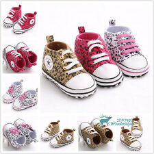 New Infant Toddler Baby Shoes Leopard Sneaker Trainer Soft Sole Lace-up Newborn