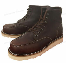 """Men's Moc Toe Boots 6"""" Leather Wedge Tred Sole Lace Up Casual / Work Shoes Sizes"""