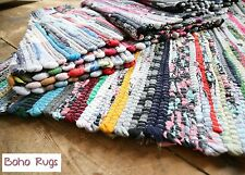 FAIR TRADE INDIAN RAG RUG  Hand Loomed SHABBY CHIC RECYCLED cotton multi colour