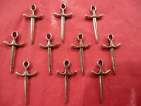 Tibetan Silver Sword Charms 10 per pack knights/pirate theme