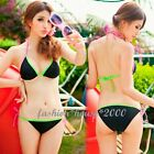 Womens Bikini Sets 2 Pcs Top Bottom Halter Swimwear Swimsuit Bathing Black 1dM