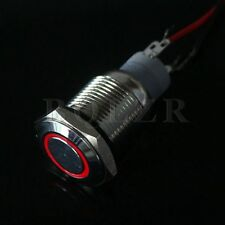 Brand New Red 16mm 12V Led Lighted Angel eyes Metal Push Button ON-OFF Switch