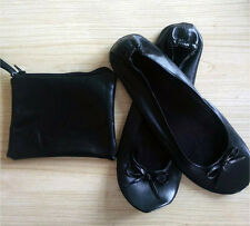 BLACK LADIES ROLL UP FOLDABLE PUMPS FLATS AFTER PARTY POCKET SHOES