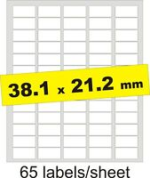 38x21mm / 325 Labels / 5 A4 sheets / Gloss Clear Transparent Inkjet Stickers
