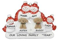 Personalized Snowman Family of 4 w/ 2 Dogs Christmas Ornament
