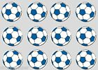 12 Football Blue LARGE 50mm Cupcake Decoration Edible Rice Paper Cake Toppers