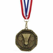 45mm Badminton Medal + Ribbon Engraving up to 30 Letters Option of Box