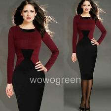 Women Grace Checker Bodycon Slim Cocktail Evening Party Pencil Dress Plus Size