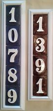 House home address numbers, Weatherproof handmade ceramic plaque White Poly