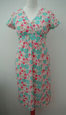 NEW BODEN PULL-ON STRETCH JERSEY WHITE EMPIRE LINE FLORAL DRESS~8-10-12
