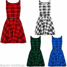 Womens Ladies Check Tartan Print Belted Flared Frankie Skater Dress Plus Size