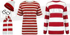 Red White Stripe TShirt Fancy Dress Party Boys World Book Day Walter Mens Henry
