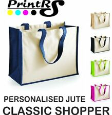 PLAIN OR PERSONALISED COTTON JUTE CLASSIC SHOPPING BAG
