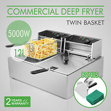 20L Stainless Steel Commercial Twin Double Tank Electric Deep Fat Fryer Chip