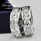 18K 18CT WHITE GOLD GF SWAROVSKI DIAMOND HUGGIE EARRINGS EA490 WOMENS UNISEX