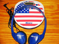 Memorex USA Flag Portable CD Player+ AC/DC Car Kit Cassette Adapter +ac Adapter