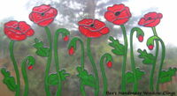 ~BEA'S STAINED GLASS EFFECT POPPY WINDOW CLINGS DECALS~