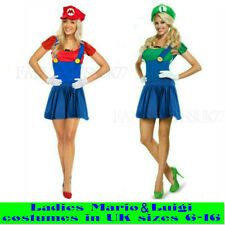 womens mario & luigi  fancy dress costume ladies sizes 6-16