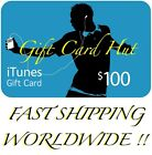 APPLE $100 US iTUNES CARD gift voucher certificate FAST FREE worldwide shipping
