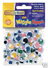 100 WIGGLY/WOBBLY/GOOGLY EYES - MULTI COLOURED