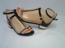 NEW COLLECTION, CHEAP NEW BLACK SANDALS WITH GOLD STUDS - FOR GIRLS AND WOMEN