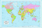LAMINATED WORLD MAP POLITICAL ATLAS WALL POSTER LATEST BRAND NEW