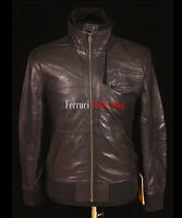 Rider Black Men's New Retro Style Fashion Bomber Real Sheep Nappa Leather Jacket