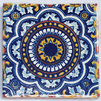 "90 PCS█ Mexican Talavera Ceramic Tiles Handmade 4"" C176"