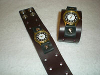 Hand crafted Leather Watch Band, Perforated Wide Wrist Band, Wine, B2