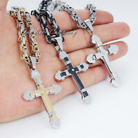 Men Stainless Steel Cross Pendant Silver Gold Black Byzantine Box Chain Necklace