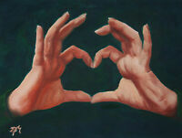 ORIGINAL OIL PAINTING ON CANVAS SIGN HAND PORTRAIT LOVE ART REALISM MODERN