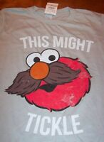 Sesame Street ELMO w/ MUSTACHE THIS MIGHT TICKLE T-Shirt SMALL NEW w/ tag