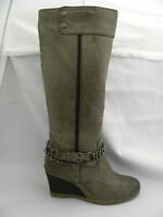 LADIES TAUPE WEDGE BOOT WITH ANKLE STRAP AND CHAIN 3-8