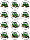 12 GREEN FARM TRACTOR EDIBLE CUPCAKE CAKE IMAGE TOPPERS