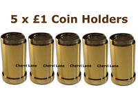 5 x New £1 Pound Gold Finish Coin Holders Dispensers