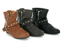 New Womens Flat Pixie Fashion Soft Ankle Boots Size 3-8