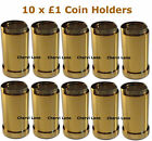 10 x New £1 Pound Gold Finish Coin Holders Dispensers